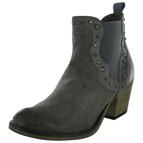 Steve Madden Womens Concrete Zip Western Ankle Boot Shoe, Grey Leather, US 6