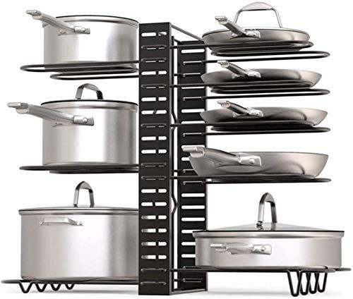 Pot Rack Pot Pan Rack Organizer Justerbara 8+ Krukor och Pans Saucepans Oragnizer Kökräknare och Skåp Pottlockhållare med 3 -metoder