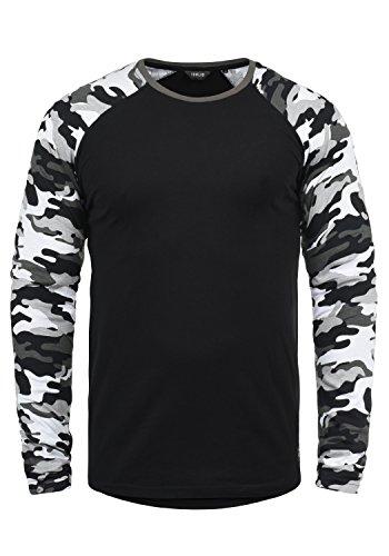 !Solid Cajus Herren Longsleeve Langarmshirt Shirt Mit Camouflage-Muster Und Rundhals-Ausschnitt Aus 100% Baumwolle, Größe:XL, Farbe:Black Grey (G9000)