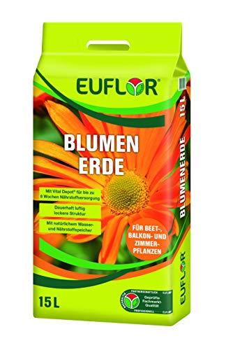 EUFLOR Blumenerde 15L Beutel lockere-aufgedüngte Erde für den universellen Einsatz im Innen-und Außenbereich,reichhaltige Grunddüngung für hervorragendes Wachstum und reichhaltiges Blühen der Pflanzen