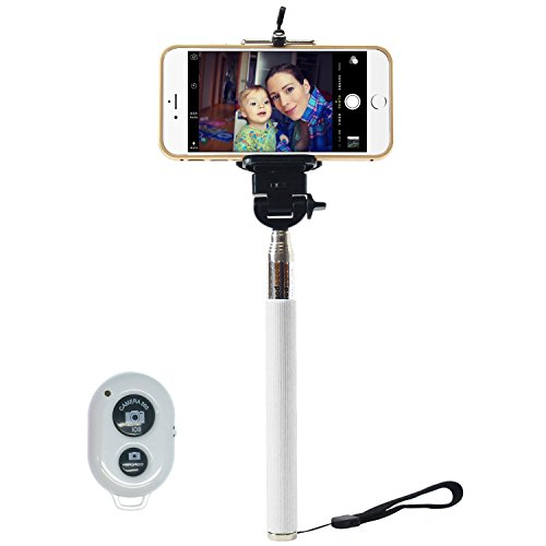 I-kool Selfie Stick, Quicksnap Pro 3-in-1 Self-portrait Monopod Extendable Wireless Bluetooth Selfie Stick with Built-in Bluetooth Remote Shutter with Adjustable Phone Holder for Iphone 6, Iphone 6 Plus, Iphone 5 5s 5c, Android and Motorola (White)
