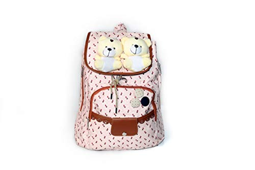 GM Student's Cotton Fabric Backpack -Pink (College/School Bag/Casual/Laptop Backpack) with Adjustable Rope | Size: 36 x 24 x 15 cm (Pink DOLL-312) -Pack of 02 Bags