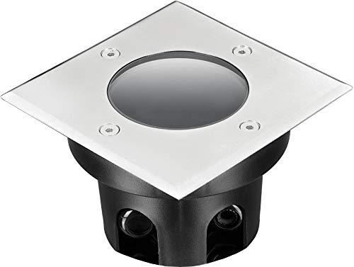 Foco empotrable para suelo IP67, cuadrado, de acero inoxidable y cristal, soporta hasta 2000 kg, profundidad de montaje de 70 mm, solo apto para módulos led.