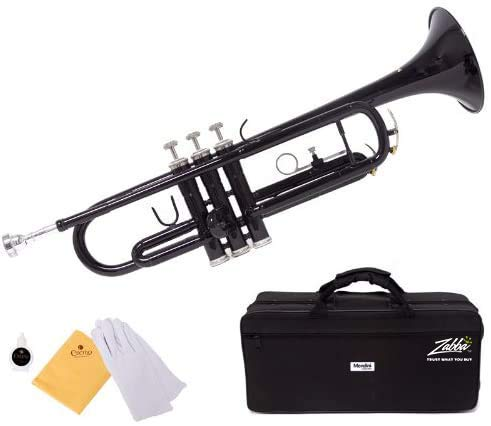 Mendini by Cecilio Brass Bb Trumpet with Durable Deluxe Case and 1 Year Warranty (Black)