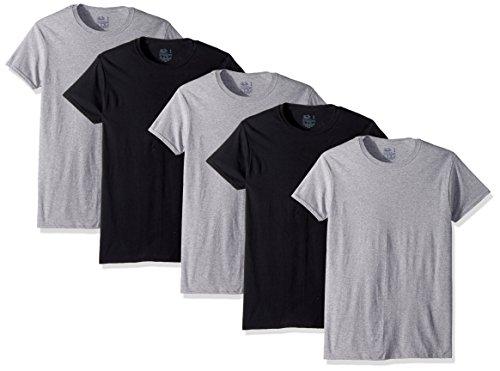 Fruit of the Loom Men's Crew Neck T-Shirt Multipack, Black/Grey (5 Pack), Large