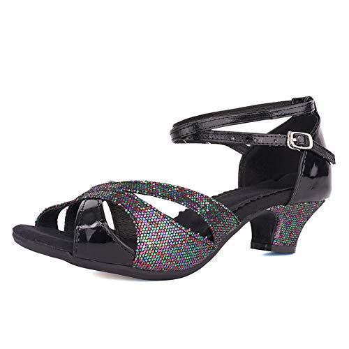 VCIXXVCE Sandalias de Fiesta de Boda para Mujer, Zapatos de Baile Latino de tacón bajo con Brillo, Modelo DY-05, Negro, EU 38.5