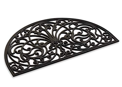Rubber Scroll Doormat Half Moon Mat, Indoor Outdoor Entrance Mat, Low, Functional and Easy to Clean, Wrought Iron Scroll Design