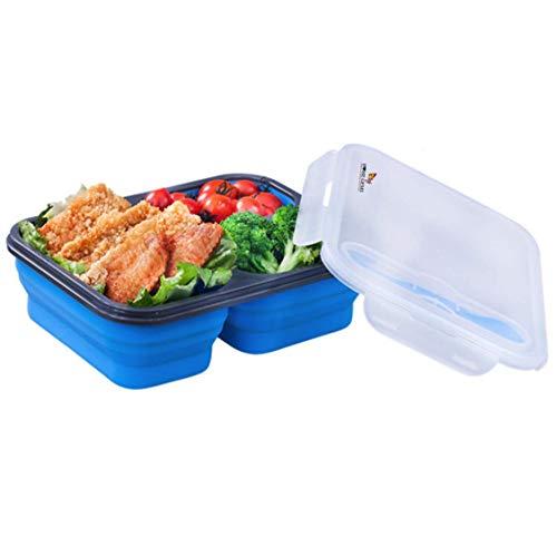 Fiambrera plegable de 2 compartimentos de silicona con cubiertos   sin BPA, ahorra espacio, hermética   apta para microondas y lavaplatos   cajas de almuerzo originales Home Gems   azul