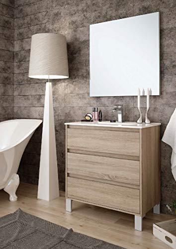 Aquore   Mueble de Baño con Lavabo y Espejo   Mueble Baño Modelo Balton 3 Cajones con Patas   Muebles de Baño   Diferentes Acabados Color   Varias Medidas (Cambrian, 100 cm)