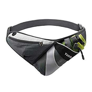 YUOTO Waist Pack with Water Bottle Holder for Running Walking Hiking Runners Hydration Belt fit Maximum 27oz and iPhone 8 Plus Men Women Black