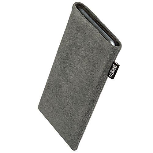fitBAG Classic Grau Handytasche Tasche aus original Alcantara mit Microfaserinnenfutter für Bea-fon Beafon SL570 | Hülle mit Reinigungsfunktion | Made in Germany