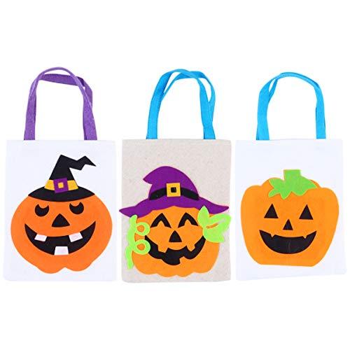 Cabilock 3Pcs Bolsas de Dulces de Halloween Regalos Bolsas de Dulces Bolsas de Dulces de Halloween Truco O Trato Suministro de Favor de Fiesta (Colores Surtidos)