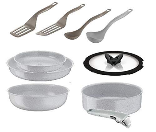 Tefal Ingenio Preserve Set 10 Pièces Induction 24 Poêle Wok 28 cm Sauteuse Couvercle Verre 24 cm Poignée Gris Concrete Accessoires Fresh Kitchen Spatule YY3905FA, fabriqué en France
