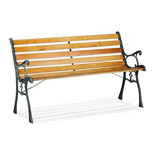 Relaxdays Gartenbank, 2-Sitzer, Holzstreben, Gusseisen, Outdoor, Balkon & Terrasse, Bank HBT 73,5 x 126 x 52,5 cm, natur