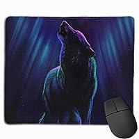 マウスパッド 狼の夜 高級感 おしゃれ 防水 耐久性が良い 滑り止めゴム底 ゲーミングなど適用 ( 30*25*0.5cm )マウスパッド
