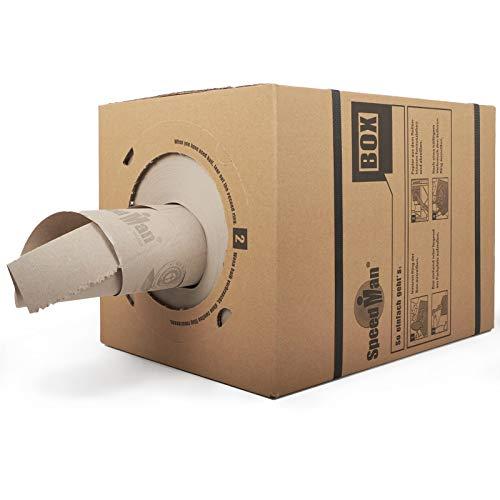 SpeedMan Box | 12 Stück, Endlos Packpapier 390 mm x 450 lfm 70 g/m2 Spenderbox | Umweltfreundliches Polstermaterial aus 100% Altpapier | Praktischer Stopfpapier Polsterpapier Spender