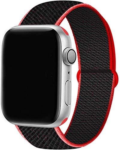 Tervoka Cinturino Compatibile con Apple Watch Cinturino 44mm 42mm, Sport Intrecciato Loop Tessuto Regolabile Ricambio Cinturino per iWatch Series 6 5 4 3 2 1 SE, Rosso/Nero