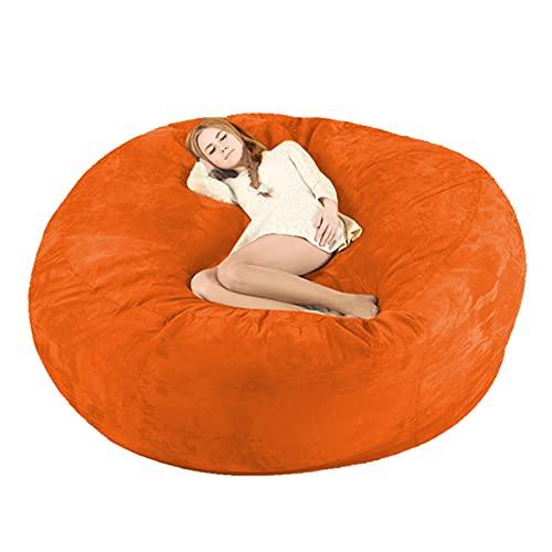 Riesige Bohnenbeutel Stuhlabdeckung XL Plüsch Bohnenbeutel Sofas Sofa Sack Jumbo Bohnenbeutel Stuhlmöbel Liegestühle (ohne Füllung) Für Kinder Erwachsene Paare (Color : Orange)