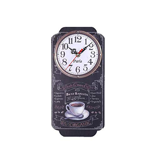YancLife Wall Rectangle Retro Clock, Home Living Room Bar Wall Decoration Rectangle Antique Clock Modern Design Printed Smooth Texture Wooden Innovative Decor (Bettery Not Include)