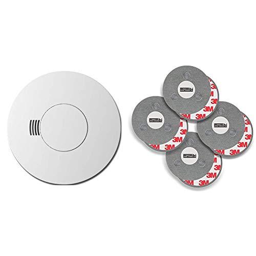 Busch-Rauchalarm® ProfessionalLINE Lithiumbatterie & mumbi Magnetbefestigung für Rauchmelder, für Glatte Flächen, Nicht für Rauhfaser oder losen Putz, Ø70mm (4-er Set)