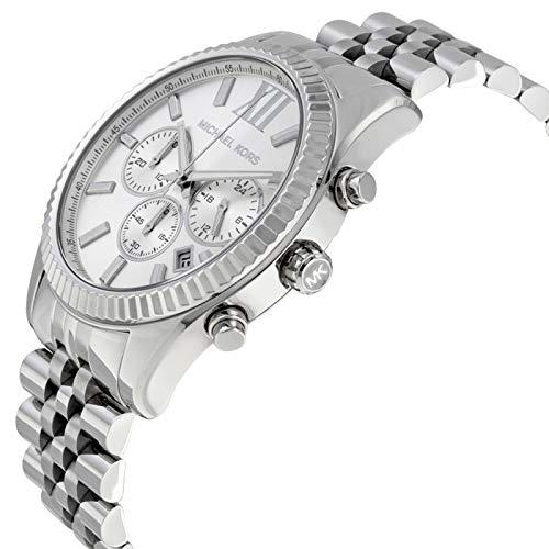 Michael Kors Herren-Uhren Rund Analog Quarz One Size Silber Edelstahl 32001926