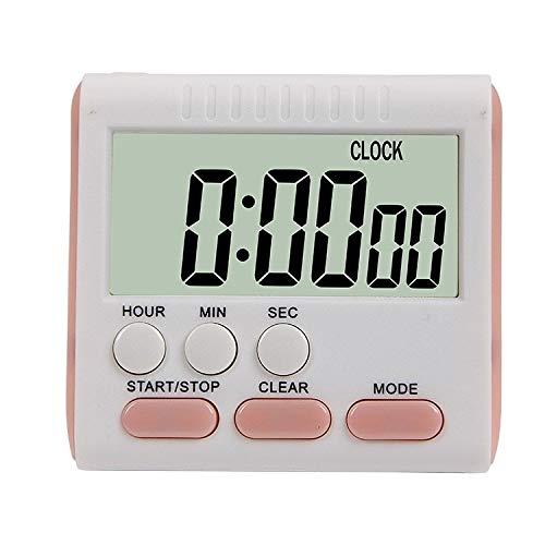 Temporizador Temporizador de cocina CCI 24 horas reloj despertador digital de la pantalla LCD Soporte magnético for Cocinar Hornear (Negro) administrador de tiempo (Color : Pink)