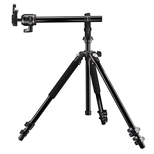 Mantona Basic Scout Max Set Fotostativ, Kamerastativ bis 160cm + Auslegearm, Kugelkopf umkehrbare Mittelsäule, ideal für Reisen und Outdoor Fotografie für DSLR Kamera, kompakt leichtes Kamera Stativ