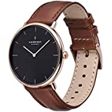 Nordgreen Native Scandinavian 36mm Rose Gold Analog Quartz Watch with Black Dial and Brown Leather Strap 15084