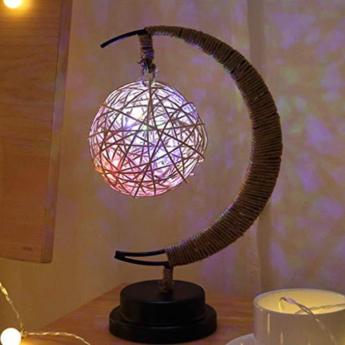 Yuzhijie LED lámpara decorativa estrella luz de la luna regalo de cumpleaños hecho a mano cuerda de cáñamo USB hierro forjado luz de la noche, D