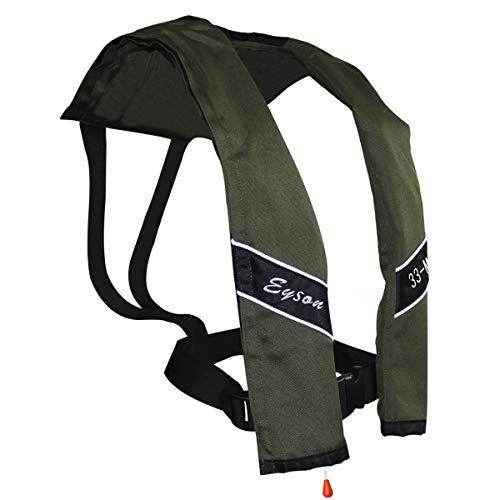 Eyson Slim Inflatable Life Jacket Life Vest PFD Adult Manual for Adults (Olive)