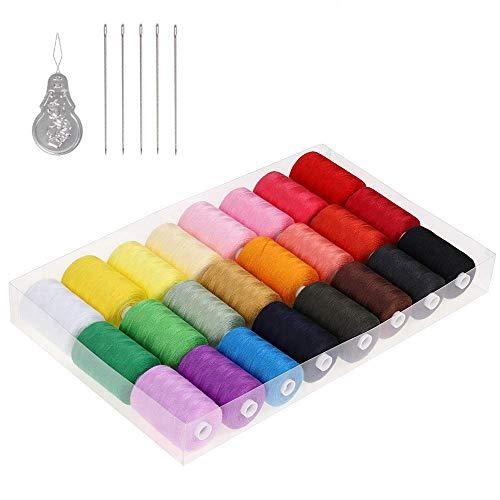 NEX Kit de hilo de coser de 24 piezas Kit de inicio de máquina de coser Kit de viaje de costura eficiente de poliéster multicolor Organizador de almacenamiento de hilo