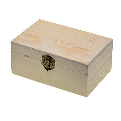 Bonarty Caja de Madera Grande para Almacenamiento, Caja de Madera Lisa con Cierre de