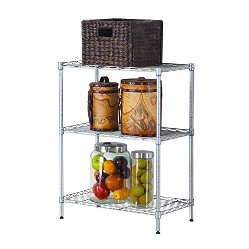 LeafRed C Concise 3 Layers Carbon Steel & PP Storage Rack Silver Shelves, Space Saver for Home, Office