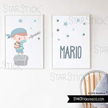 Pack de 2 láminas de cuadro decorativas para bebé personalizadas - Súper niño pirata ROJO + Lámina con nombre - A3-297 x 420 mm: Amazon.es: Hogar