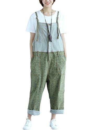 Vogstyle Damen Casual Printing Denim Jumpsuit Pantalons (Art 3 Grün)