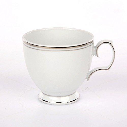 Kaffeeservice Teeservice MariaPaula Weiß mit Platinstreifen Porzellan Chodziez (1 Tasse (ohne Untertasse))