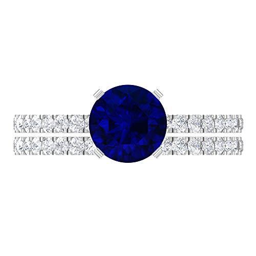 Anillo de compromiso de zafiro azul creado en laboratorio de 2,25 quilates con anillo de boda Moissanita (calidad de reliquia), oro blanco de 14 quilates, tamaño: UK Z+1