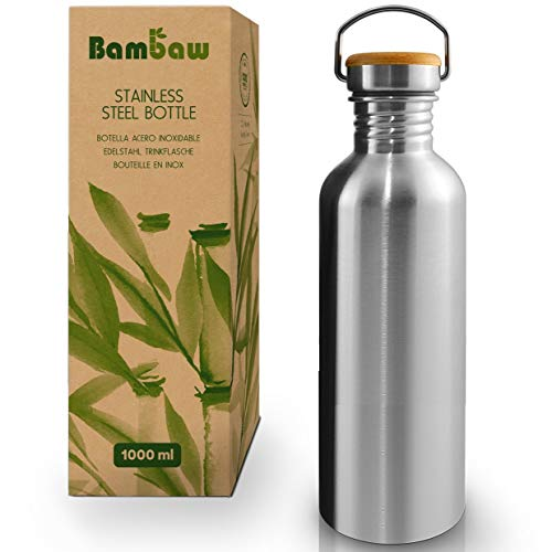 Single Wall Stainless Steel Water Bottle   1 Litre Water Bottle   Eco Friendly Reusable Bottle   Campfire Proof   Plastic Free and Leakproof Metal Water Bottle   1l Eco Water Bottle   Bambaw