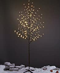 6FT 208L lighted cherry blossom tree, brown branch, clear flower, warm white LED lights,16Ft lead wires,very convenient to use LED lights meet the need of brightness,energy saving and long life up to 30000 hours.24V UL approved adaptor safe with low ...