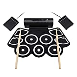 Worth Having - Roll Up Electronic Drum Pads, Electronic Drum Practice Pad Midi Drum Kit USB MIDI Connection Enables Musician to Upload Beats to Computer Electric Drums,Black (Color : Black)