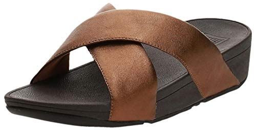 FitFlop Women's LULU Cross Slide Sandals-Leather, Bronze, 10 M US