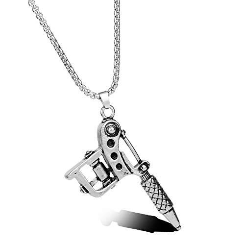 Aleación Mini Tatuaje Ametralladora Colgante Estilo Hip Hop Colgante Collar Tatuaje Artista Regalo Creativo Joyería