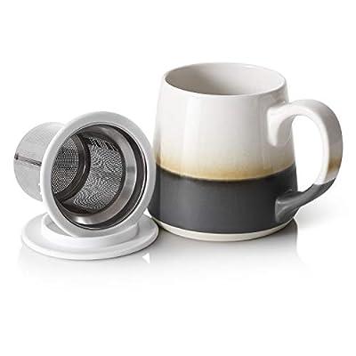 DOWAN Tea Mug, 16 OZ Steeping Tea Cups, Ceramic Mugs Tea Infuser Mug with Infuser and Lid, Loose Leaf Tea Mug, Grey