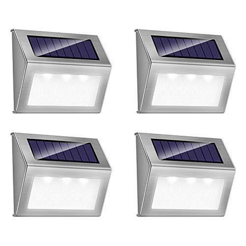 Solar Step Lights, iThird LED Solar Powered Stair Lights Stainless Steel Outdoor Lighting for Deck Fence Path Auto On/Off Waterproof 4 Pack