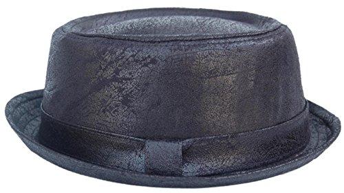 Cool4 Cool4 PORK PIE HUT LEDER OPTIK VINTAGE Used Look Porkpie Hat Rocky Breaking Bad Hackman Cap PP07 (57)