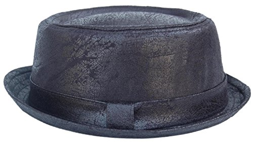 Cool4 Cool4 PORK PIE HUT LEDER OPTIK VINTAGE Used Look Porkpie Hat Rocky Breaking Bad Hackman Cap PP07 (57)