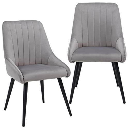 Duhome Accent Chairs Set of 2 for Living Room, Modern Side Chair Guest Chair Velvet Fabric Ergonomic Padded Seat Armrest with Metal Legs Indoor Coffee Shop (Grey)