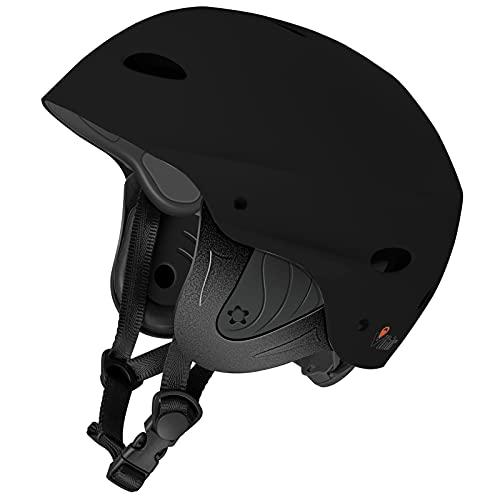 Vihir BMX Helm Wakeboard Helm Skaterhelm Fahrradhelm Herren Damen Jungs & Kinderhelm Wassersport Helm mit Ohrenschützer ABS+Eva, Schwarz/L 59-63CM