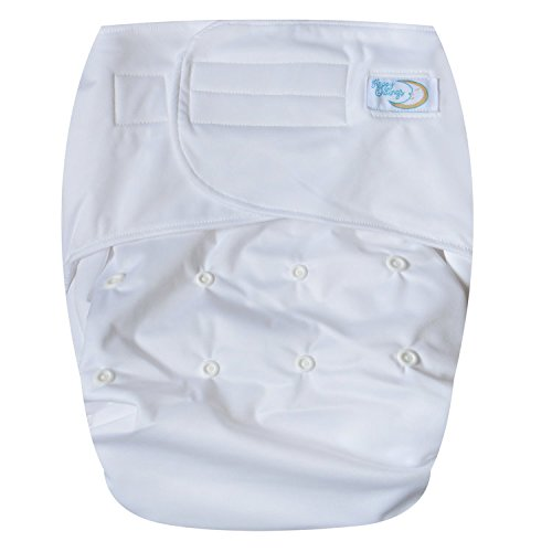 HappyEndings Teen/Adult Hook and Loop Closure Stain Resistant Reusable Cloth Diaper for Incontinence'White'