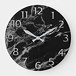 onepicebest Round Wooden Wall Clock, Silver Gray Grey Arabic Numbers Marble Black Large Clock, Silent Non Ticking Wall Decor, 15 Inch